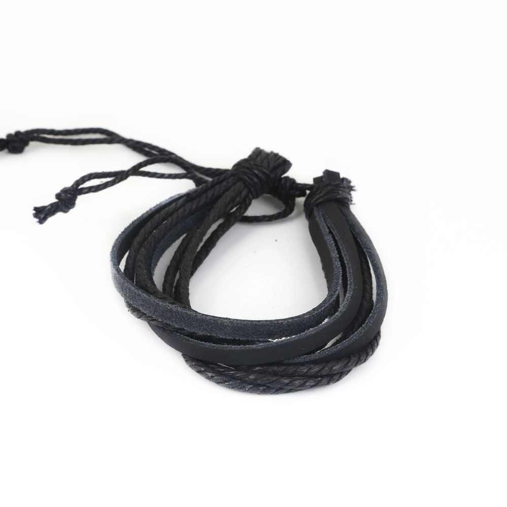 1 шт./лот, повседневный плетеный браслет из натуральной кожи, черный/коричневый, мужской стиль, браслет на запястье, винтажные Многослойные браслеты