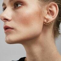 Enfashion Punk Ball Stud Earrings Gold Color Ear Jacket Stainless Steel Earrings For Women Earings Jewelry