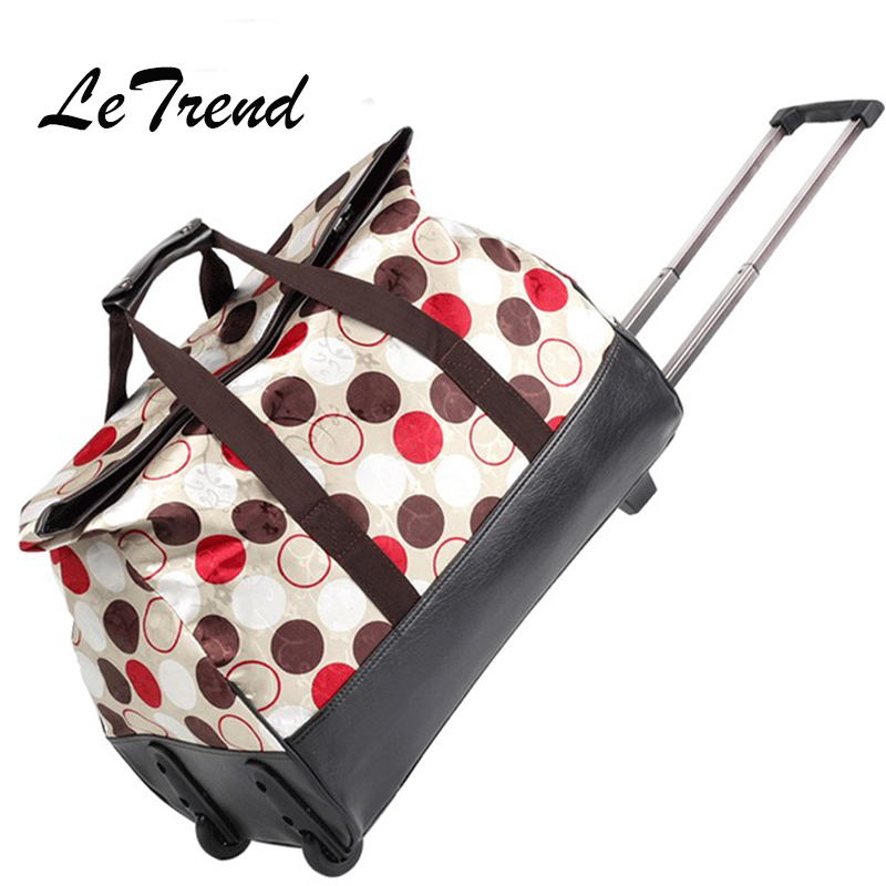 LeTrend large capacity Rolling Luggage Caster Women Korea Travel bag Trolley Suitcase Wheels Men Carry On Trunk Women's Handbag universal uheels trolley travel suitcase double shoulder backpack bag with rolling multilayer school bag commercial luggage