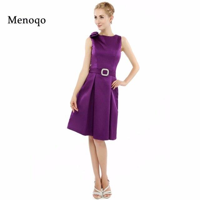 Purple Knee Length Graduation Dress