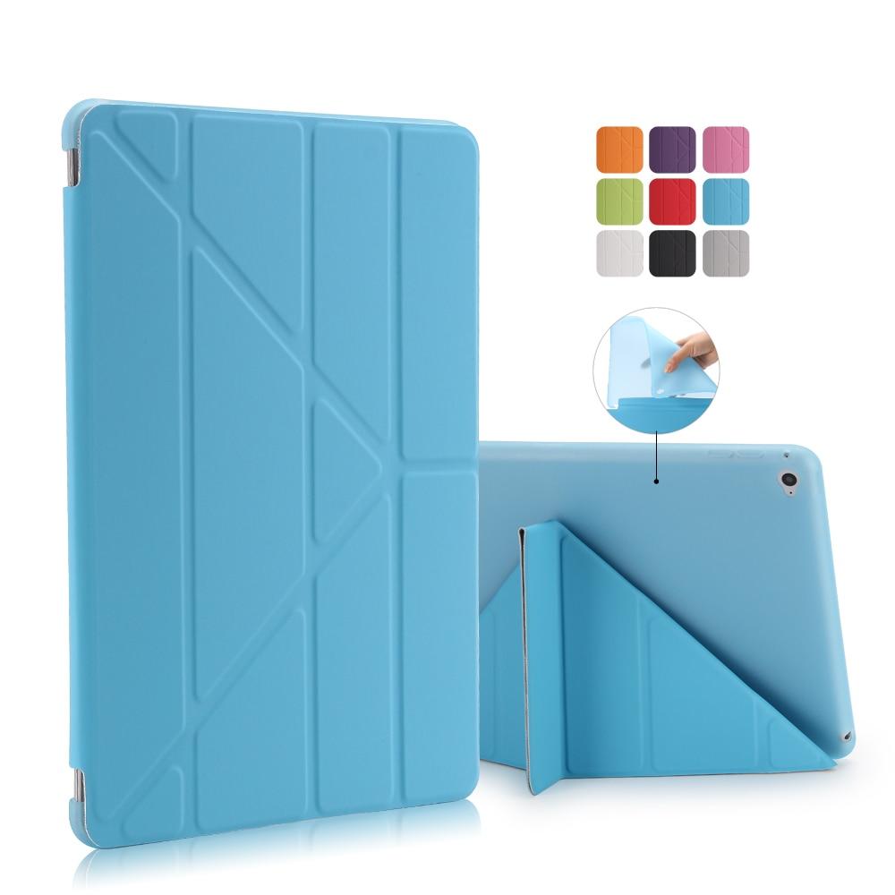 TPU Flexible Silicone Soft Back Cover For Apple Ipad 6 5 3 2 4 PU Leather Front Case For ipad mini 4 3 2 1 For ipad pro 10.5