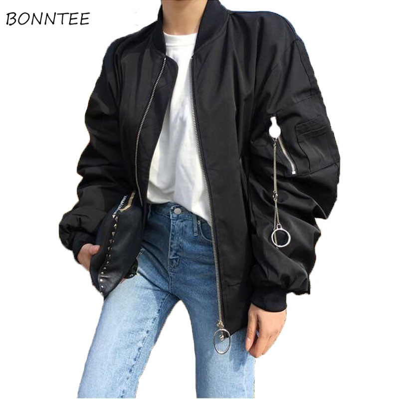 Jackets   Women Metal O-Ring Hip Hop Gothic Black   Basic     Jacket   Womens Leisure Loose Short Simple All-match Unisex Trendy Female