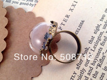 20sets  Half Globe Clear Glass Bottle Ring DIY Antique Bronze Ring Base Terrarium Bottle Ring Apothecary Bottle Jewelry Supplies