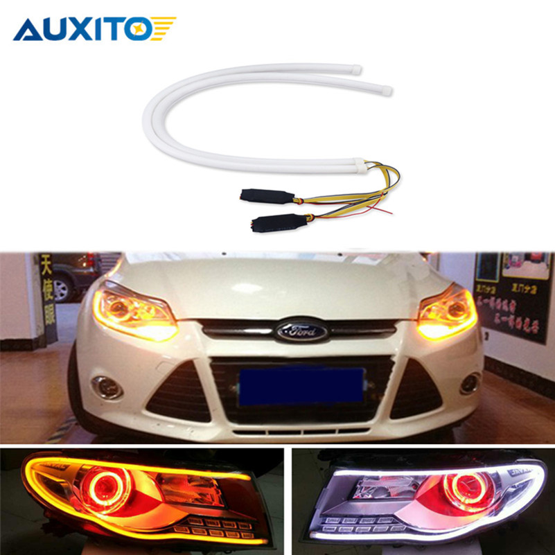 2Pcs 60cm Sequential Flowing Angel Eyes DRL Flexible LED Tube Strip White Daytime Running Light Tear Turn Signal Car Styling 2x45cm led drl diy flexible daytime running light soft article lamp tube car styling strip automobiles waterproof 2pcs