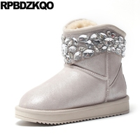 Rhinestone Ankle Cheap Fur Flat Waterproof Snow Boots Women Beige Muffin Shoes Australian Winter Crystal Female