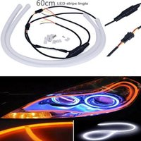 2x 45cm 60cm DRL Flexible LED Tube Strip Style Daytime Running Lights Tear Strip Car Headlight