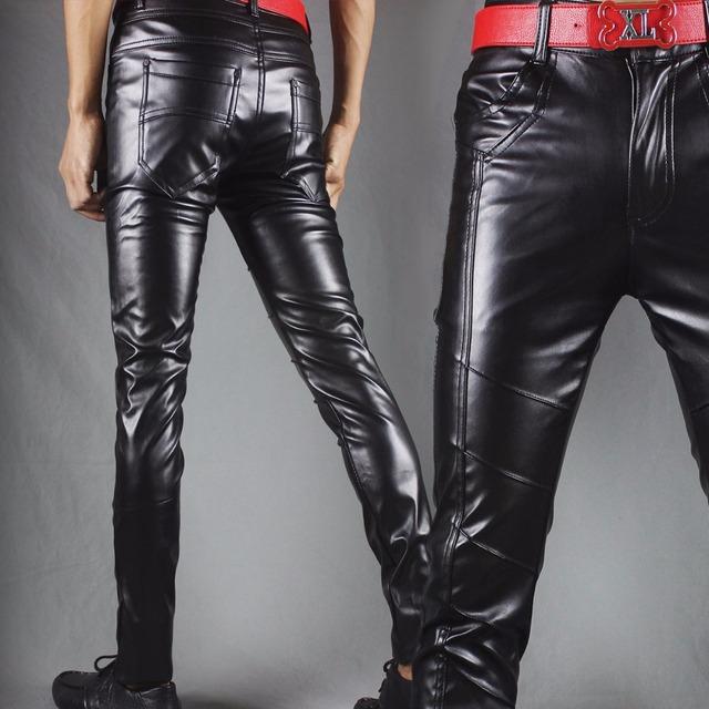 Inverno novas calças de couro homens Magros de carne calças apertadas motocicleta noite clube hair stylist maré calças de couro pés