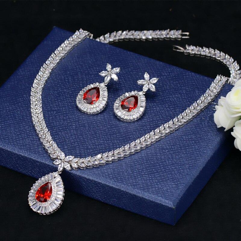 Poire rouge grenat cristal Zircon cuivre plaqué or blanc oreille bijoux ensemble boucle d'oreille collier pendentif M02-T0100