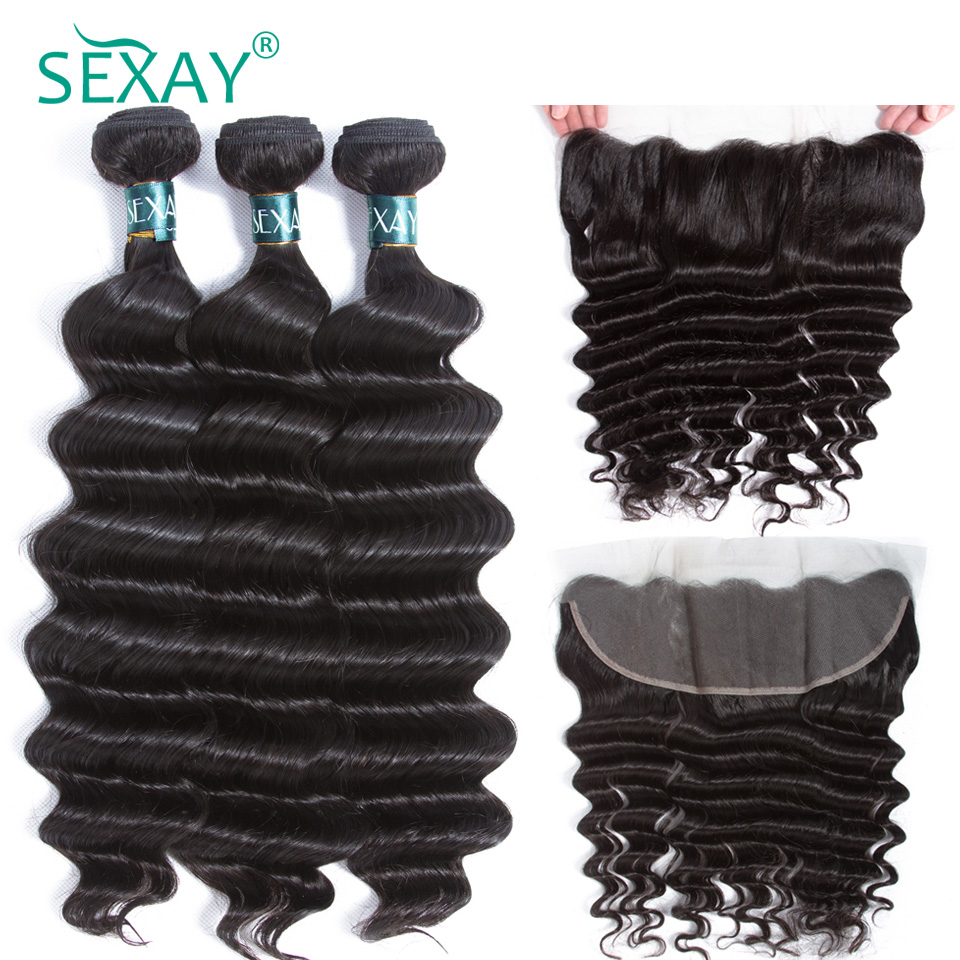 Loose Deep Human Hair 3 Bundles With Frontal Malaysian Remy Human Hair Weave Pre Plucked 13x4 Lace Frontal Closure With Babyhair