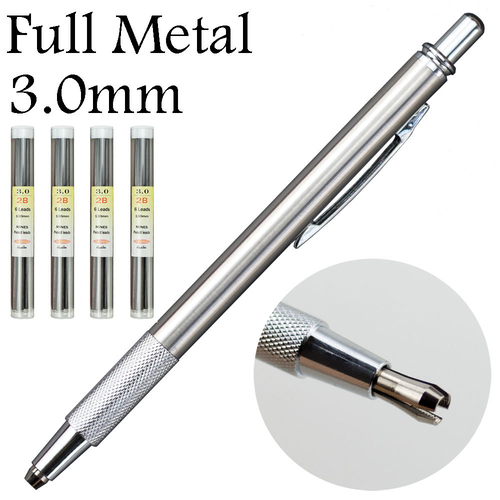 3.0mm Full Metal Mechanical Pencils  Lead Holder Steel Red HB 2B Lead Refill Office School Supplies Supplies Not-staedtler