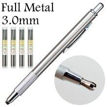 3.0mm /2.0mm plein métal crayons mécaniques porte-plomb acier rouge HB 2B plomb recharge bureau fournitures scolaires fournitures non-staedtler