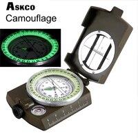 Askco 방수 생존 군사 나침반 하이킹 캠핑 육군 포켓 군사 lensatic 나침반 핸드 헬드 군사 장비