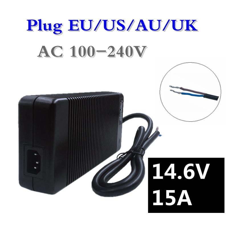 купить 252W 14.6V 15A LiFePO4 Battery Charger 14.4V 4Series for 12V LiFePO4 Battery Smart Charger EU/US/AU/UK Plug Free Shipping недорого