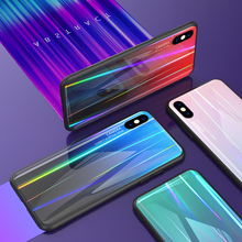 Tempered Glass Case for iphone X 8 7 6 6S Plus Gradient Color Aurora Laser Back Cover Colorful Shining
