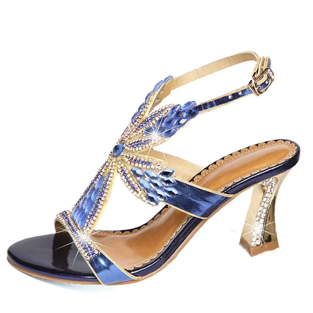 Xemonale Hot sale 2018 Womens Genuine leather shose Sparkling diamond High heels sexy Peep Toe Sandals