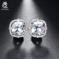 Big Size 4ct Cushion Cut AAA Cubic Zirconia Shiny Austrian Crystal Fashion Earrings For Women OE150