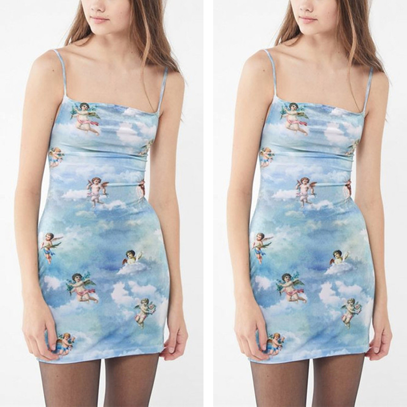 HTB1zf6laULrK1Rjy0Fjq6zYXFXaV Sleeveless Casual Spaghetti Strap Mini Dress 2019 Summer Women Angel Print Slash Neck Bandage Dress Elegant Short Party Dress