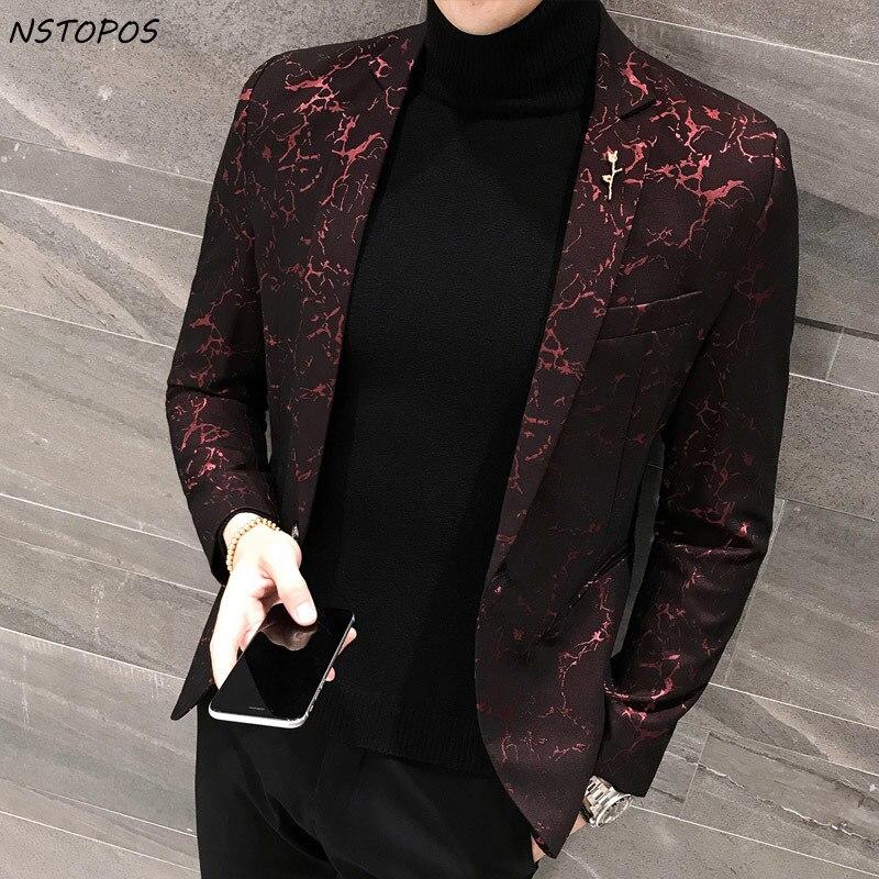 Hommes Imprimé Blazer Masculina Slim Fit 2017 Nouveau Vent Rouge bleu Noir 3XL Élégant De Mariage Parti Élégant Blazers Pour Hommes veste