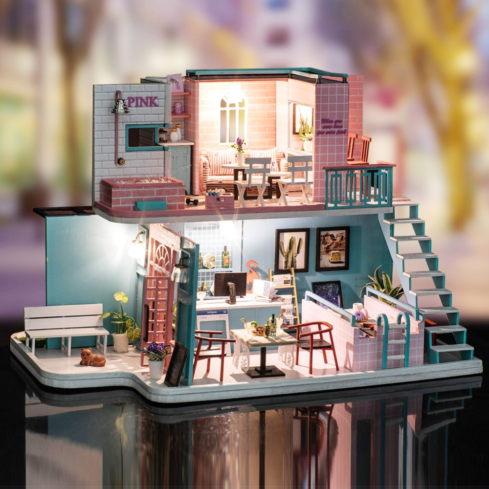 Assemble DIY Doll House Toy Wooden Miniatura Doll Houses Coffee Shop Dollhouse toys With Furniture LED Lights Birthday Gift assemble diy doll house toy wooden miniatura doll houses miniature dollhouse toys with furniture led lights birthday gift