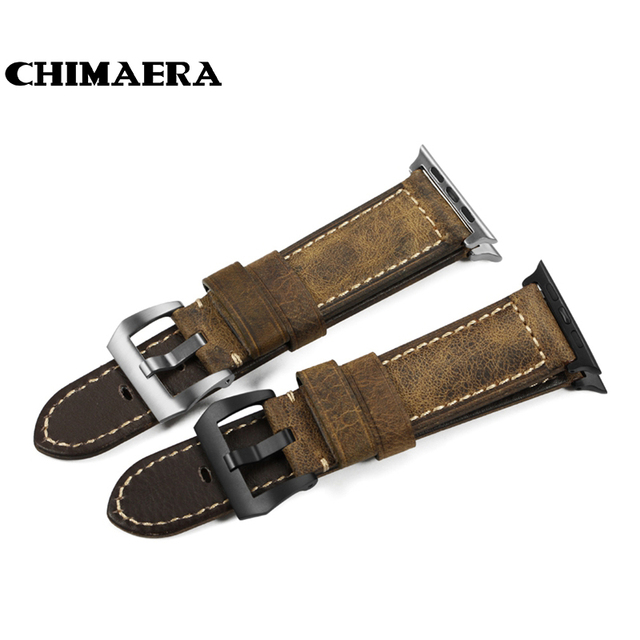 CHIMAERA 42mm Handmade Italy Assolutamente Vintage Genuine Calf Leather Watch Strap for 42mm Iwatch Apple Watch Band