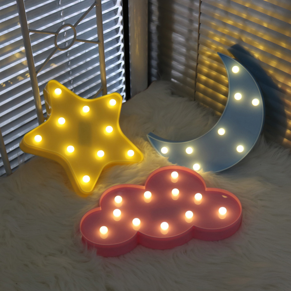 1pcs 3D LED Night Light Cute Star Moon Cloud Design Wall Desktop Ornaments Kids Room Decoration Nursery Lamp