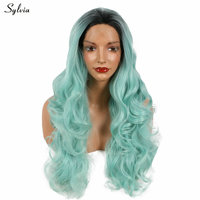 Sylvia Wavy Synthetic Mint Green Ombre Dark Root Lace Front Wig Long Bouncy Nature Looking Summer