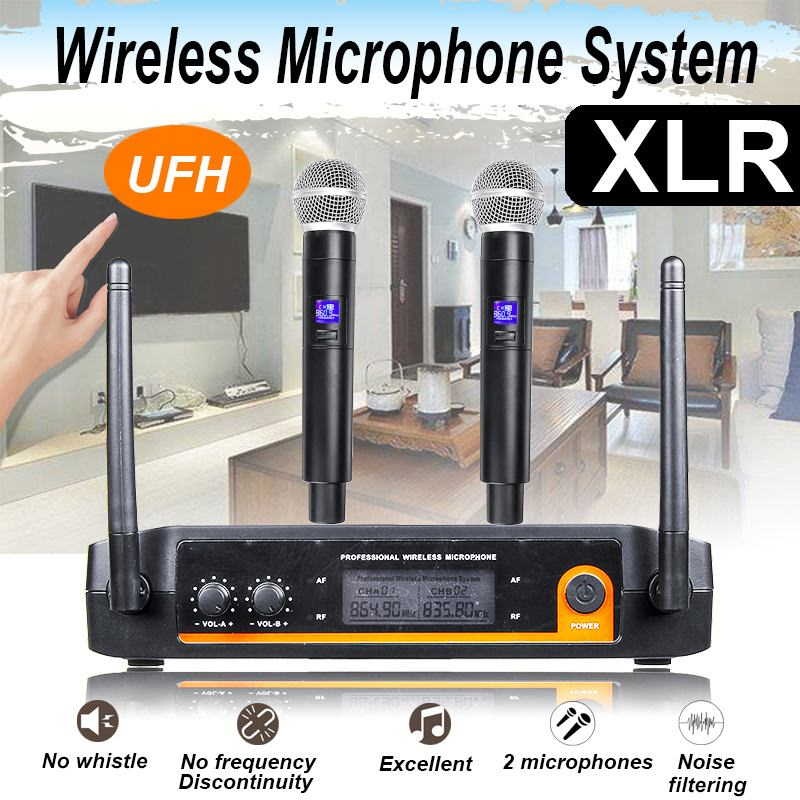 Professional UHF Wireless Microphone System Dual Channel Cordless Handheld Mic Kraoke Speech Party Supplies Cardioid Microphone