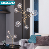Art Deco Villas Glass Hardware Chandeliers Restaurant Living Room Bedroom Creative Personality Designer Home Decoration Lamps