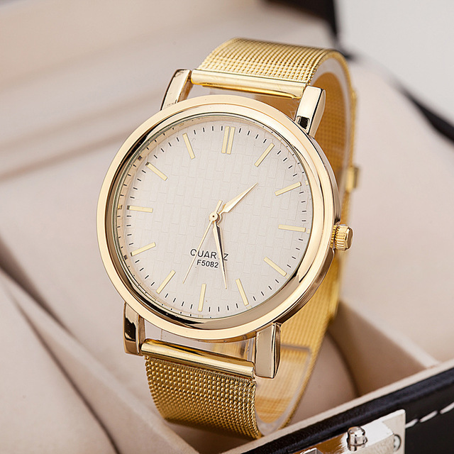 New Luxury Brand Gold Casual Geneva Watch Women Dress Watches Metal mesh stainless steel Analog Quartz men Ladies Wrist Watches  hot luxury brand geneva fashion men women ladies watches gold stailess steel numerals analog quartz wrist watch for men women