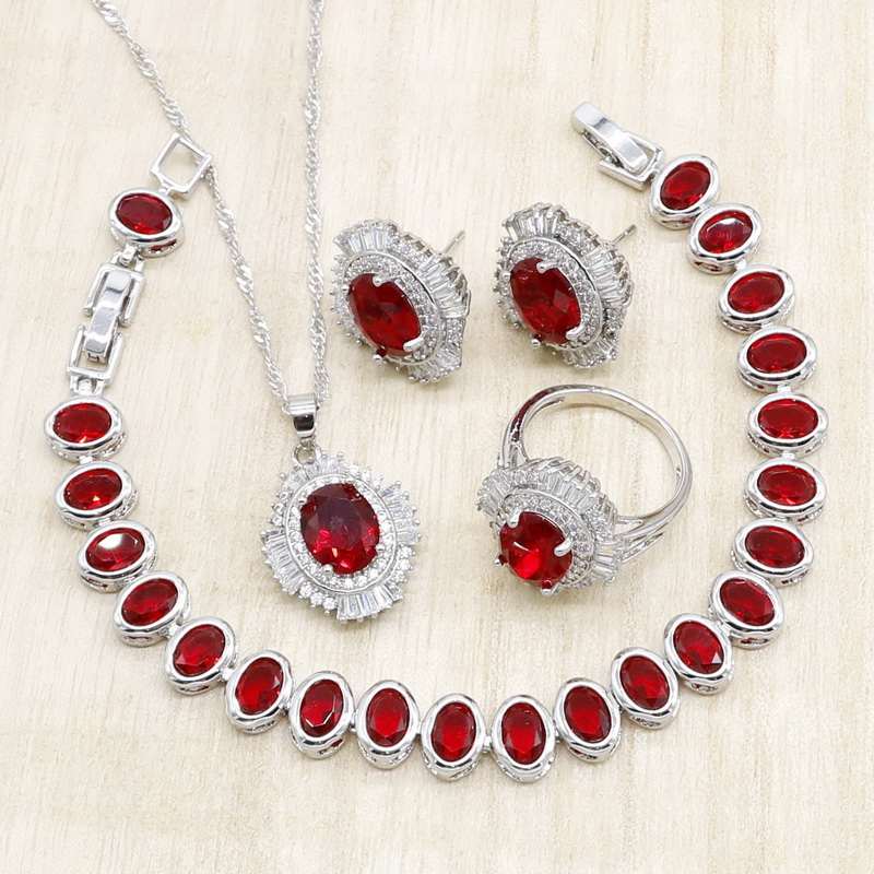 Oval Red Crystal Silver Jewelry Sets for Women Bracelet Necklace Pendant Earrings Ring Birthday Wedding Jewelry