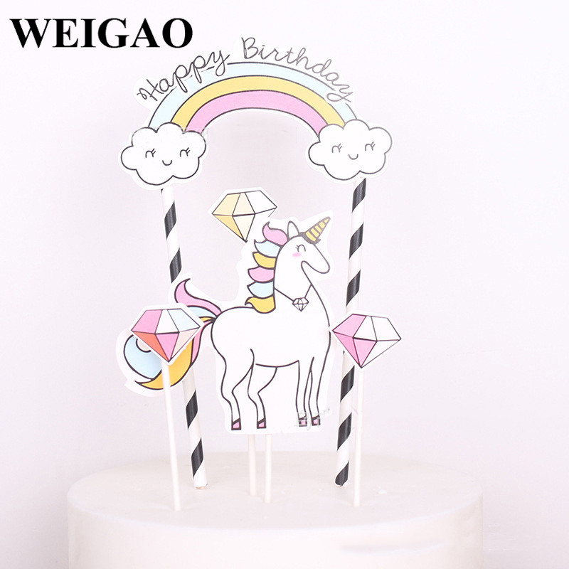 WEIGAO 1Set Baby Shower 3 Styles Unicorn Cupcake Toppers Birthday Party Toys Wedding Decorations New Year Home Party Supplies