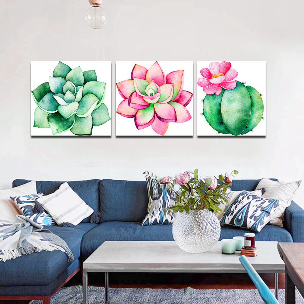 Unframed 3 Canvas Art Paintings Aloe Vera With Green Cactus Printing Mural Living Room Decorative Oil Painting