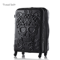 3D skull High quality fashion 19/24/28 inch size Extra large volume PC Rolling Luggage Spinner brand Travel Suitcase