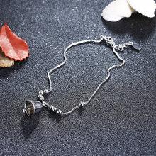 Женский браслет на ногу из серебра 925 пробы с маленьким колокольчиком