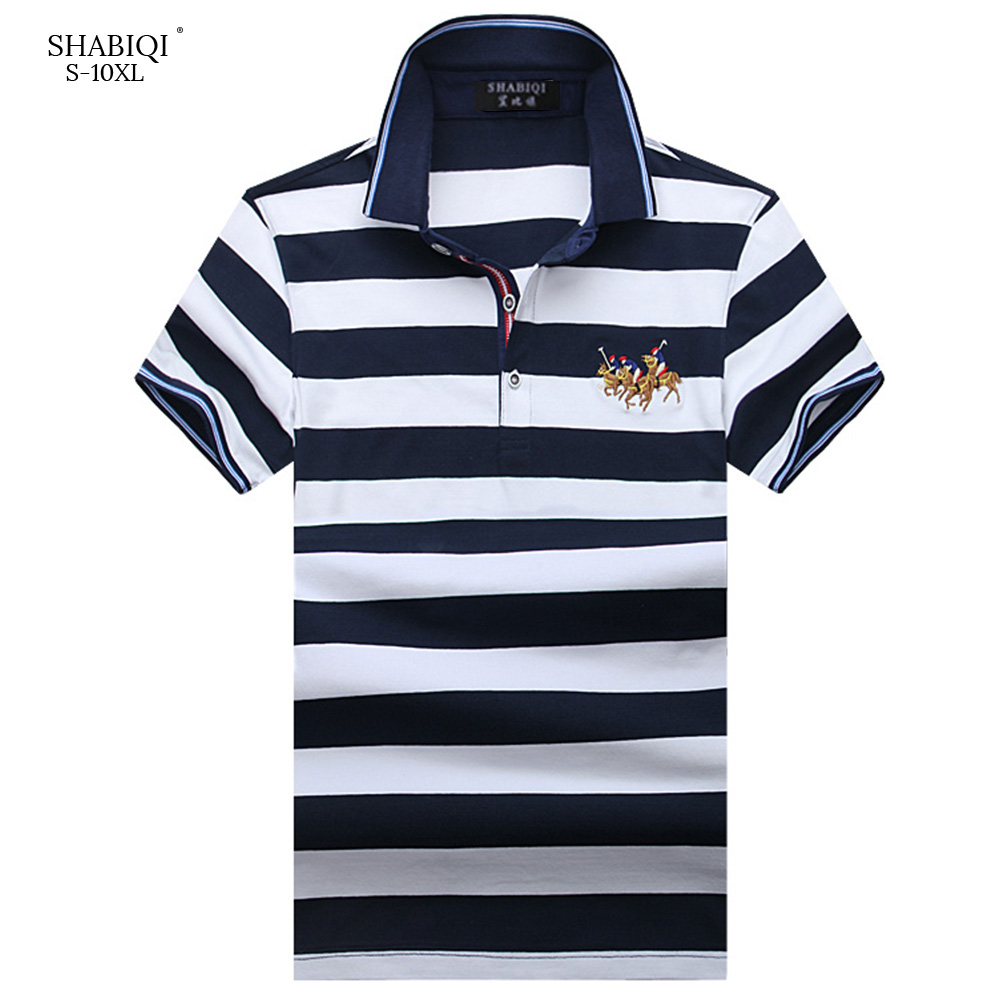 2018 Summer SHABIQI Embroidered Lapels   Polo   Shirt Men Short Sleeve Casual Men Shirts Loose   Polo   Homme Cotton Mens   Polos   5XL-10XL