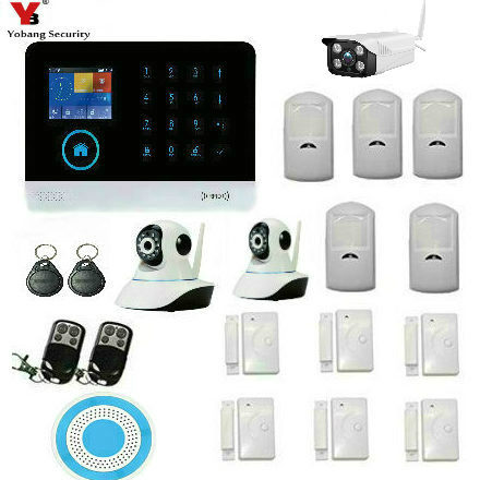 YobangSecurity Wireless GSM WIFI Home Security Burglar Alarm System Kit Android iOS APP Wireless Siren Outdoor Indoor IP Camera yobangsecurity touch keypad wifi gsm gprs rfid alarm home burglar security alarm system android ios app control wireless siren