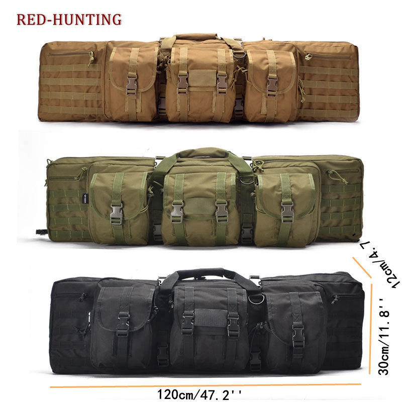 2020 New Heavy 120CM 47'' Tactical Double Long Rifle Pistol Gun Bag Shotgun Transportation Case W/Backpack Lockable Compartment