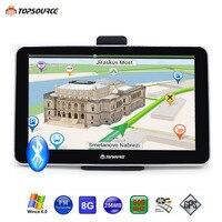 TOPSOURCE 7 Inch Car truck vehicle GPS navigator MTK 800Mhz FM DDR3 256M 8GB Win CE6.0 Navitel/Europe/USA/spain map Free update