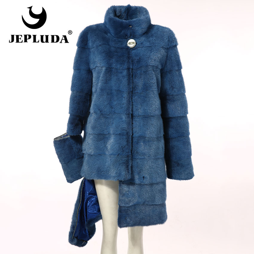 JEPLUDA High Quality Natural Mink Fur Coat Women Sleeves Hem Removable Winter Real Fur Coat Winter Women's Real Mink Fur Jacket