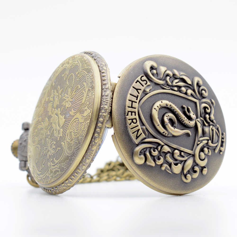 Ретро Бронзовый Гарри Поттер Хогвартс колледж Слизерин кварцевые карманные часы аналоговый кулон ожерелье Мужские Женские часы цепочка подарок