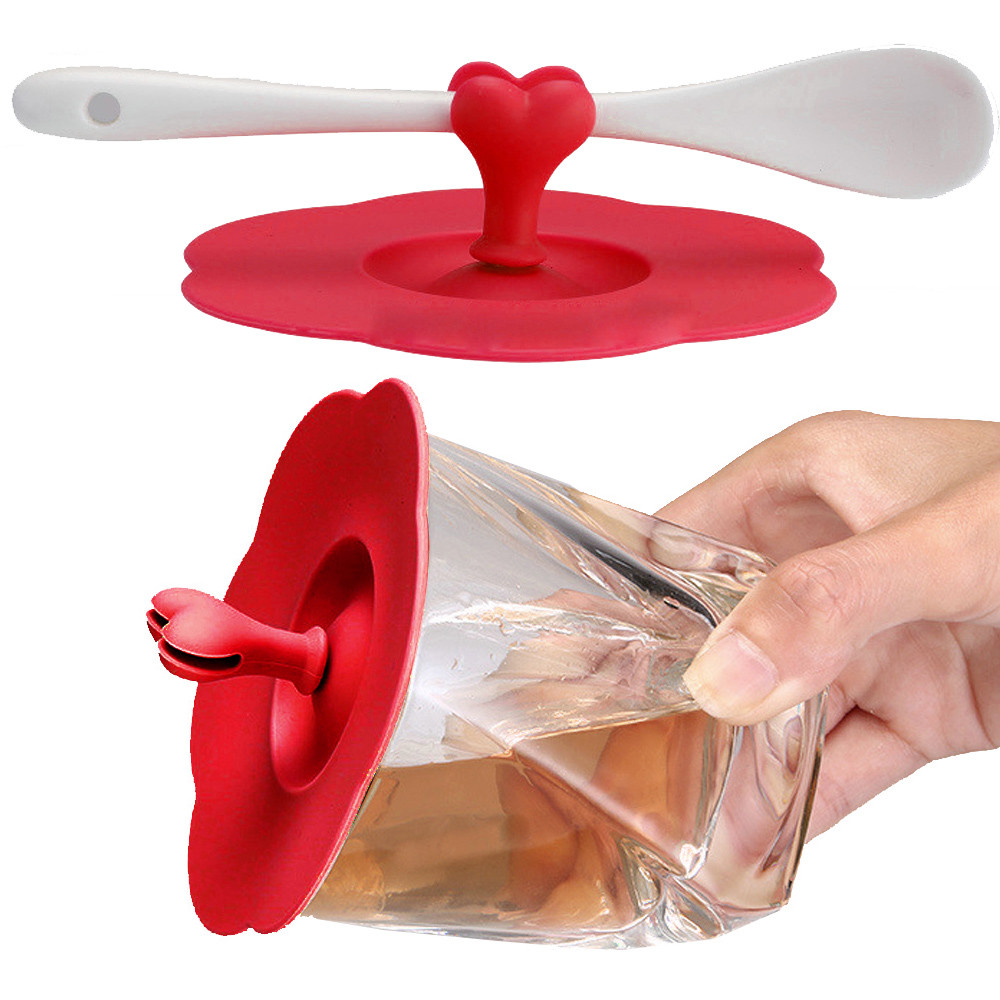 2018 High Quality Crystal Useful Heart Silicone Leakproof Coffee Mug Suction Lid Cap Airtight Seal Cup Cover Gift Dropshipping