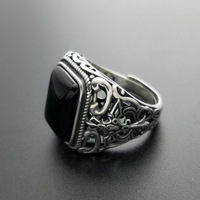 S925 silver ornament inlaid with male ring sword Knight