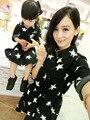 2015 moda outono roupas mãe e filha feminino criança estrela impresso manga comprida de algodão pai filho de uma peça vestido casual