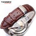 Pulseira de couro marrom assista bracelete 24mm 26mm 28mm com borboleta de aço inoxidável fecho frete grátis