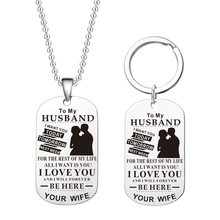 Necklace Keychain TO MY Girlfriend/Boyfriend To My Soulmate Best Friend Silver Tag Pendant Key Chains for Couples