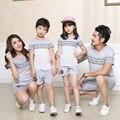 Comercio al por mayor de los nuevos niños de algodón a rayas de manga corta camiseta de 2017 del verano ocasional marea traje familia equipado parejas clothing