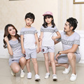Wholesale new Children cotton striped short sleeve t-shirt 2017 summer casual suit tide Family fitted Couples clothing
