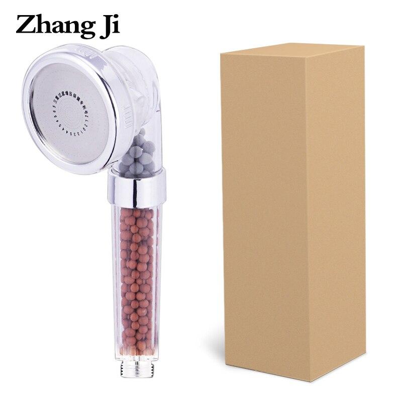 ZhangJi 3 Функции Регулируемая струйная насадка для душа Ванная комната высокое давление воды ручной экономии анион фильтр спа насадки для душ...