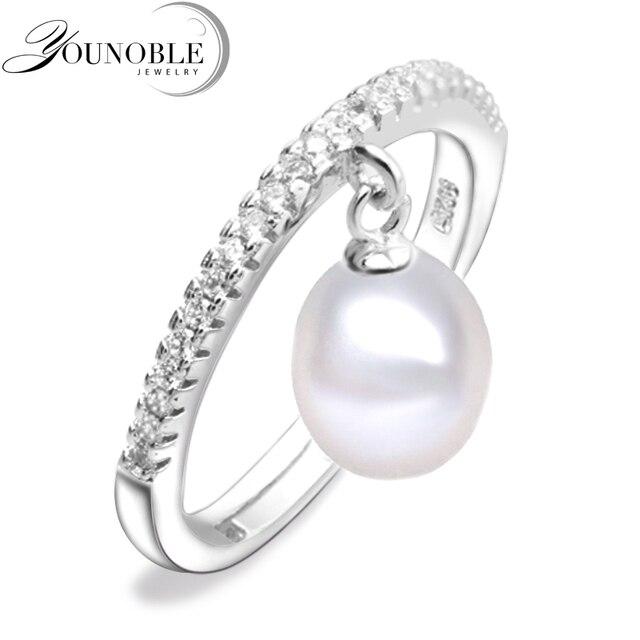 Реальные пресноводного жемчуга, кольца для женщин, белый культивированный жемчуг кольцо стерлингового серебра 925 мама подарок на день рождения белый регулируемая