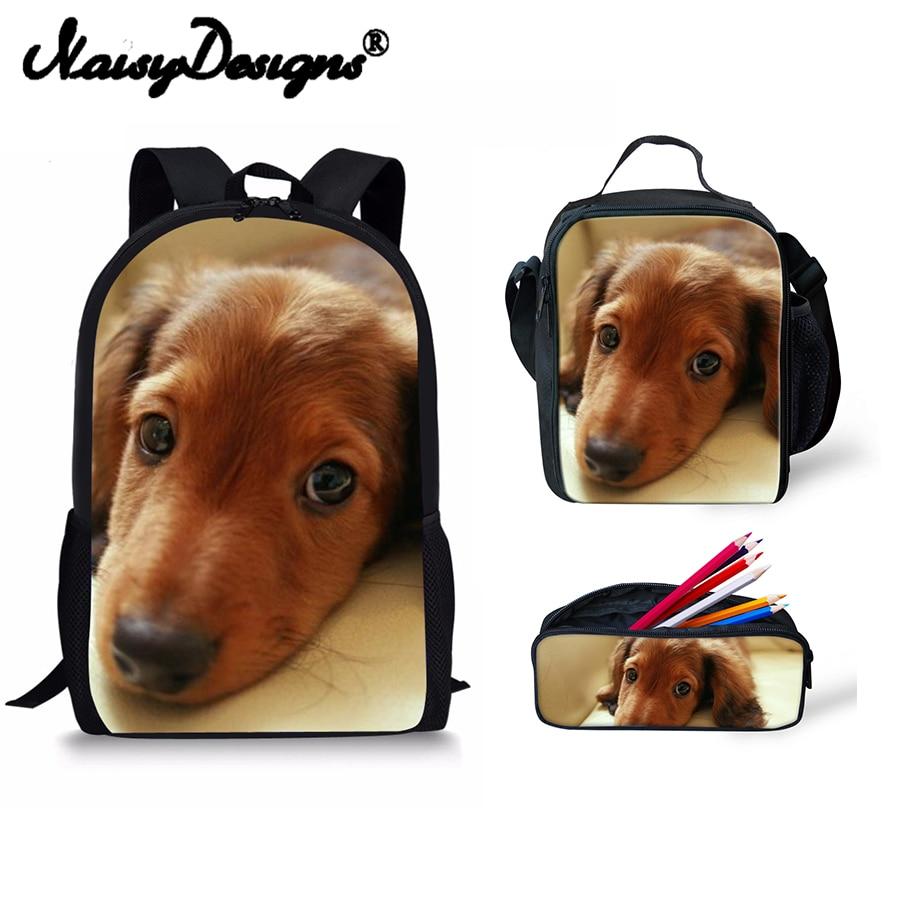 Noisydesigns Dachshund Printed School Set Backpack Women Large Travel Laptop Bag For Girls Reusable Bags Man Lunch Box Children